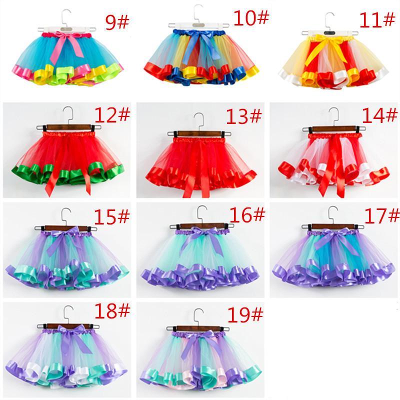 Les filles arc-en-Tutu Jupe Tulle Danse Ballet Robe enfant en bas âge arc-en-Bow Mini Party Pettiskirt danse Tulle Jupes Sport Robes 19 couleurs