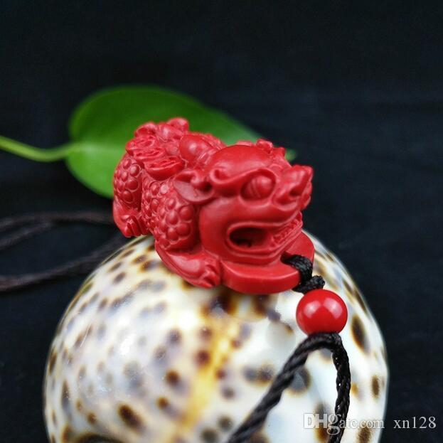 قلادة تنين قلادة صينية عضوية حمراء طبيعية سنابار بيكسيو تميمة مجوهرات أزياء منحوتة يدويا لامرأة