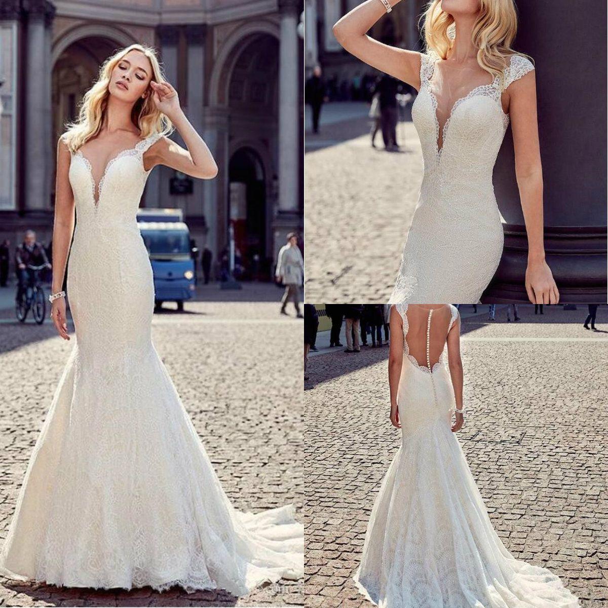 Newdeve White Halter Sleeveless Wedding Dresses Lace Tulle Slim Fit Sweep Train Bridal Dresses