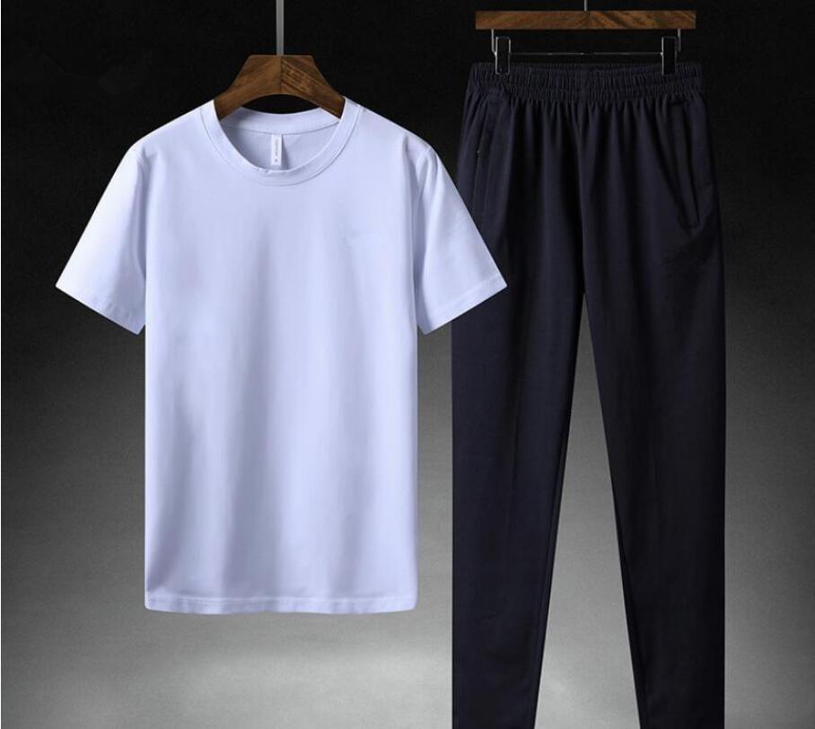 2020 de los nuevos hombres calientes FN7708 conjuntos camisetas + pantalones de dos piezas conjuntos de chándal informal de baloncesto nuevos juegos de la manera sportwear camisas de fitness