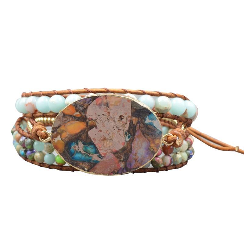 Exclusif haut de gamme 5X gainé de cuir Bracelet perles Bracelet en pierre naturelle énorme, Bijoux Chic Boho, Bohême Wrap Bracelet cadeau