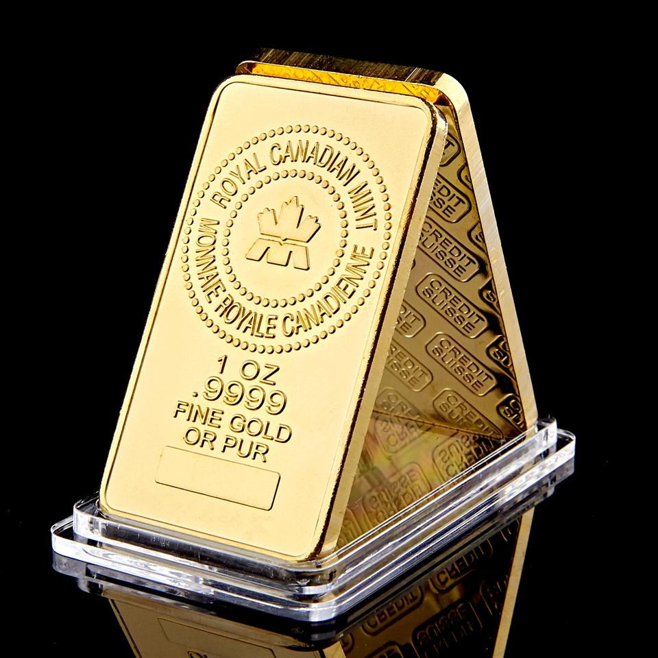 The Royal Canadian Mint Gold Plated 1OZ .9999 Fine Gold Or Pure Gold Plated Souvenir Bullion Bar
