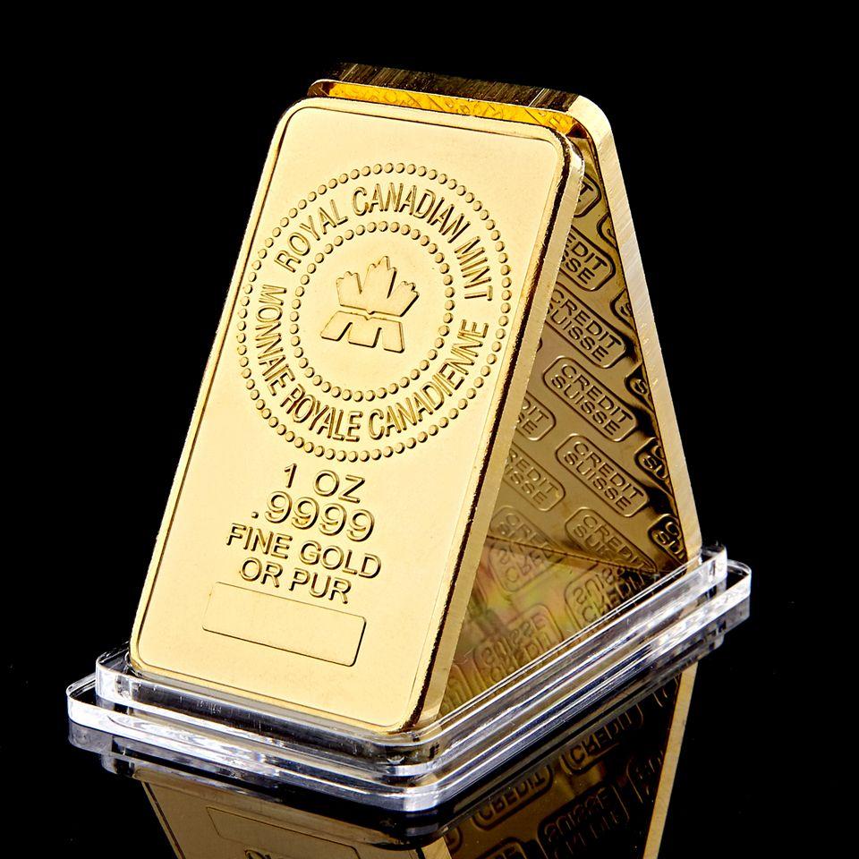La Royal Canadian Mint chapado en oro 1OZ .9999 oro fino o de oro puro plateado recuerdo barra del lingote