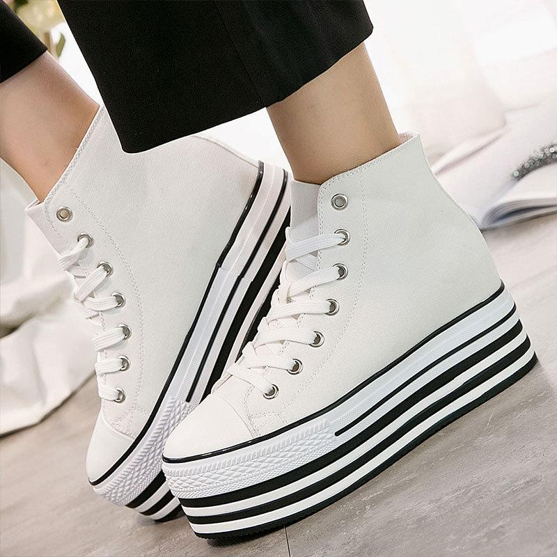 New canvas lace with high uppers to increase leisure womens shoes thick sole round head sports shoes manufacturer direct sales
