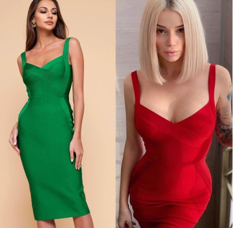 Alta qualità Giallo Verde Rosso aderente ginocchio lunghezza del rayon del vestito dalla fasciatura partito di sera del vestito Y200101