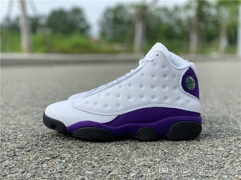 Miglior designer scarpe di qualità 13s White Court Nero Viola Università Gold Man pallacanestro prossimo con la scatola Dimensioni US7.5-13