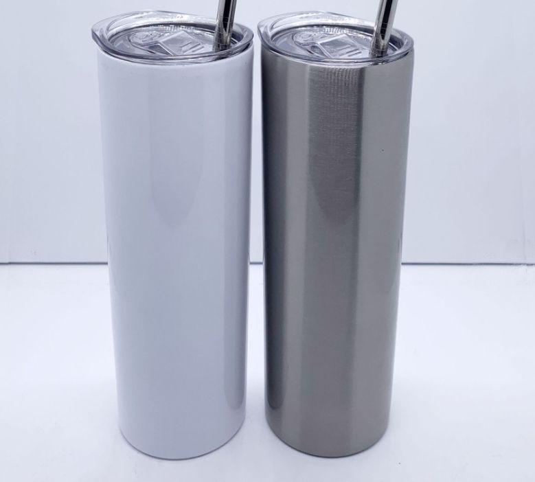 20 Unzen 30 Unzen Sublimation gerade dünne tumbler Edelstahl Zuhaltung doppelwandige Vakuum mit versiegelten Deckeln und Kunststoff Stroh isoliert