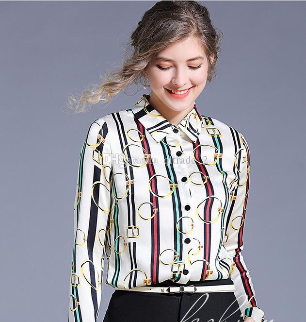 Camicie in chiffon con collo a bavero in risvolto a 2 colori con stampa a righe