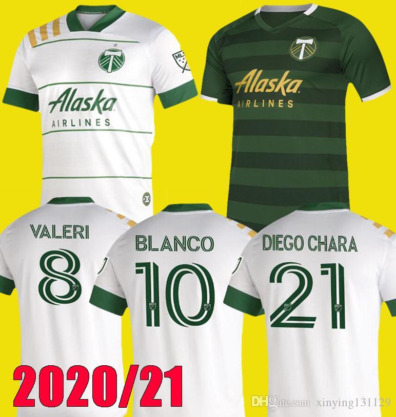 무료 배송 NEW 2020 년 2021 MLS 포틀랜드 팀 버스 홈 축구 유니폼 (20) (21) BLANCO CHARA 발렌틴 발레리 MEN 축구 저지 셔츠