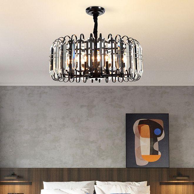 مصابيح الثريات السوداء الكرستالية الجديدة المصنوعة من البلورات الفاخرة أضاءت مصابيح قلادة أمريكية دائرية لغرفة المعيشة غرفة دراسة غرفة الطعام