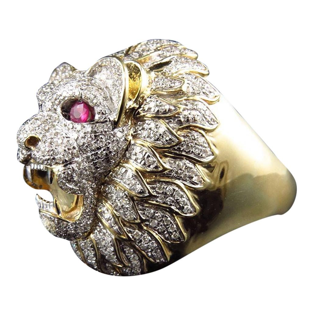 Stylish Jewelry Romantic Elegant MEN Rings Men Fashion Punk Style Lion Head Gold Filled Natural variet precious stone Ring DSHIP