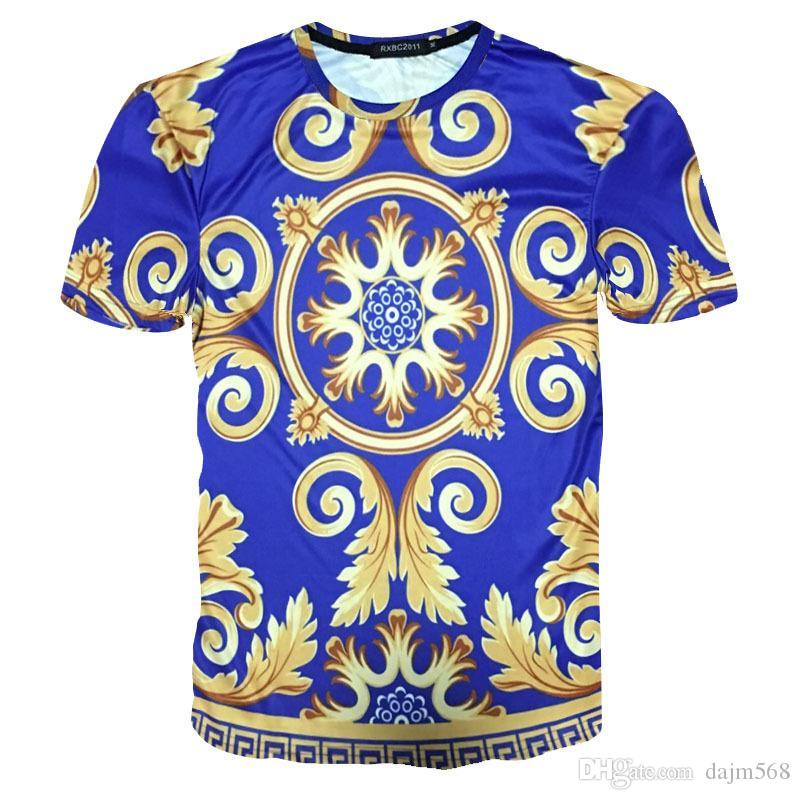mens designer t shirts t shirt clothes of white clothing 3D gold flower cross lion gold pony print men's fashion trend short-sleeved T-