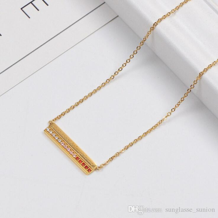 Fashion Gold//Silver//Rose Gold Color Hot Classic Pendant Letter Necklace