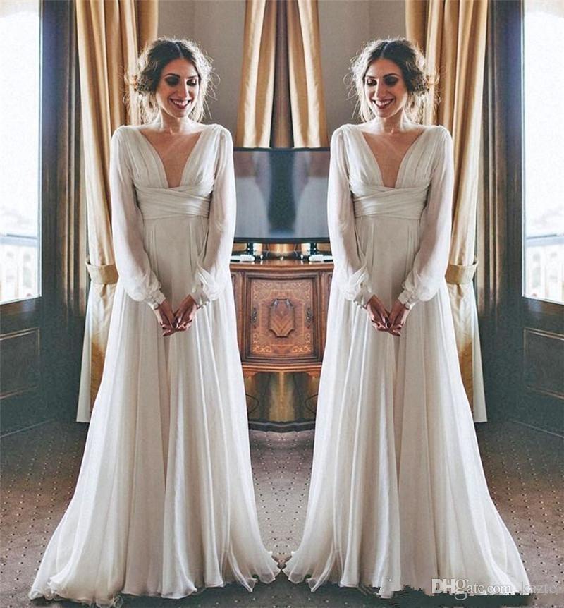 Modest Boho Beach Wedding Dresses 2019 Long Sleeves V Neck Plus Size Chiffon Cheap Summer Maternity Country Greek Style Bridal Gowns