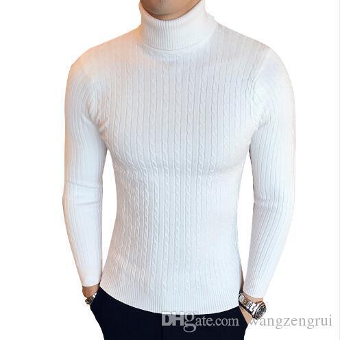 Casual inverno alto pescoço aquecido camisola homens turtleneck marca mens suéter suavers magras pullover homens mochila masculino duplo colar
