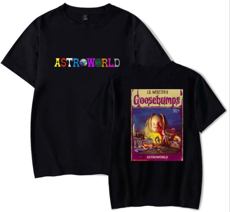 YENİ Astroworld T-GÖMLEK Travis Scott Tişörtlü Tee Kısa Kollu Tişört Hip Hop Astroworld Siyah Tasarımcı Tee Tişörtlü