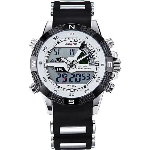 Reloj de pulsera digital analógico WEIDE para hombre, correa de silicona, relojes de pulsera digitales para hombre, relojes deportivos de lujo de cuarzo, LED, cronómetro del ejército WH1104