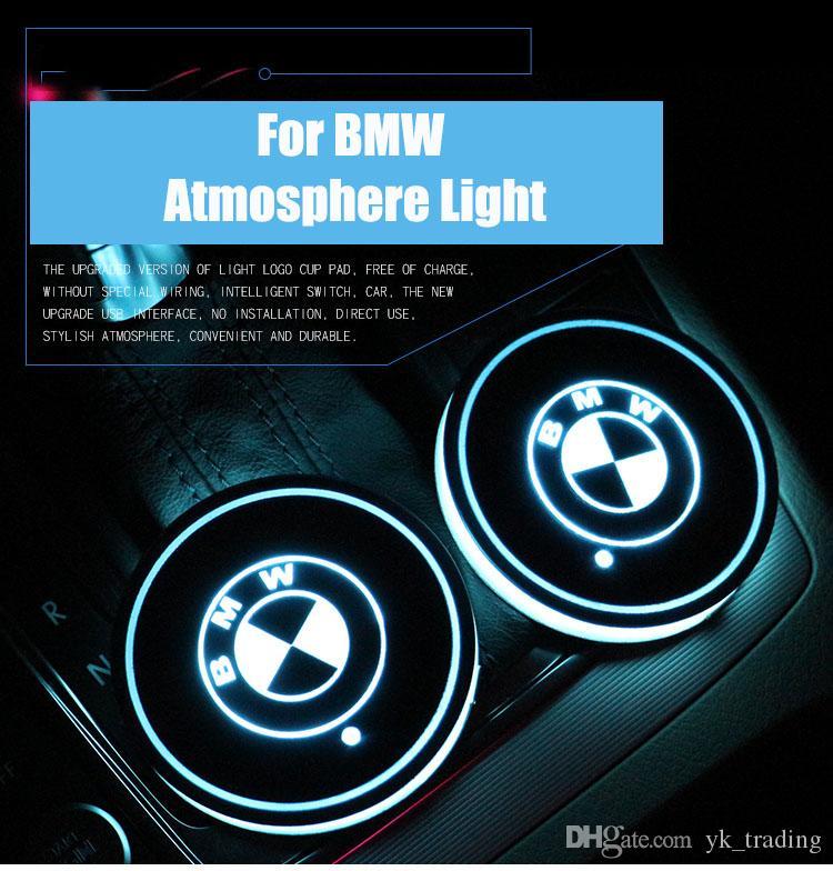 BMW E90 E46 E39 E60 F30 F10 F15 F16 X5 X6 автомобиль водить блестящей воды Кубок Pad Groove Мат Luminous Подстаканники Атмосфера Light