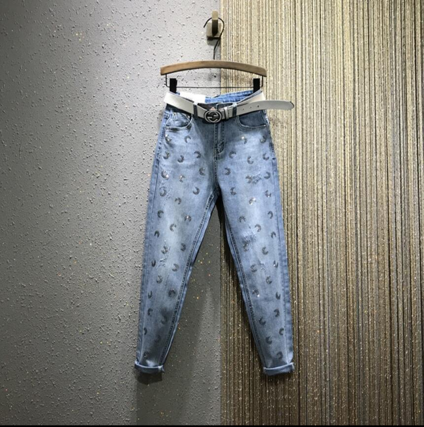 2020 Spring New taille haute à chaud Drilling loose droites Harem Jeans Pantalons femmes Casual Blue Jeans Denim Pantalons Pantalons