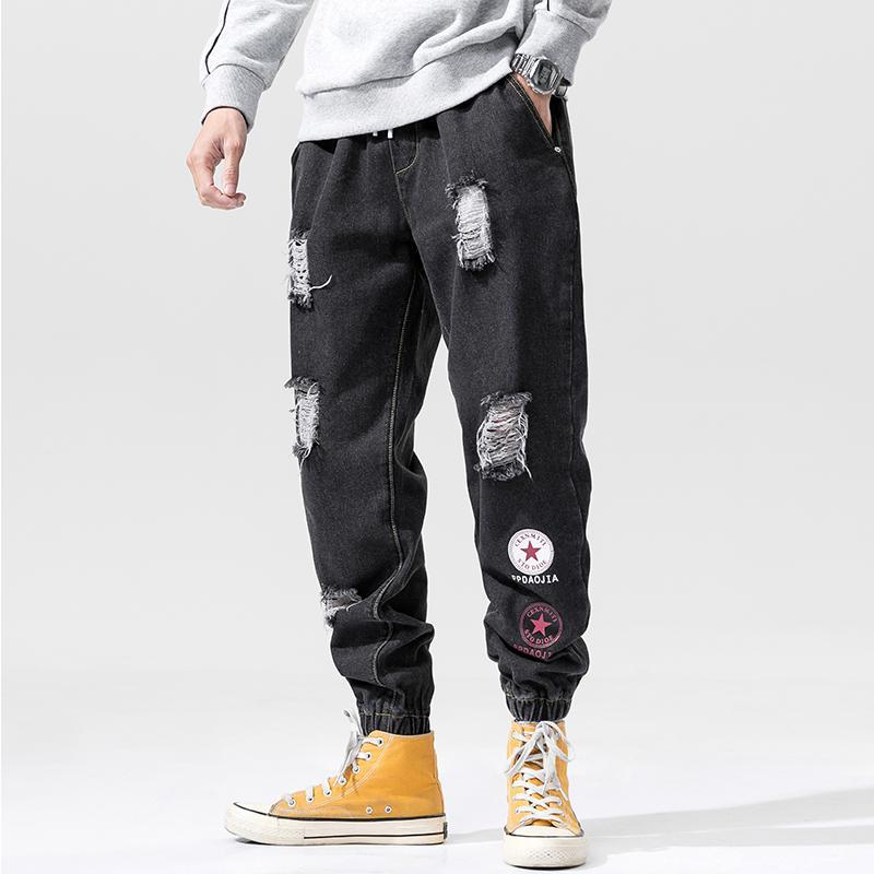 5XL 4XL Männer Slim Fit Gerade Ripped Distressed faltete Knie-Flecken-Denim-Hosen-Stretch-Jeans
