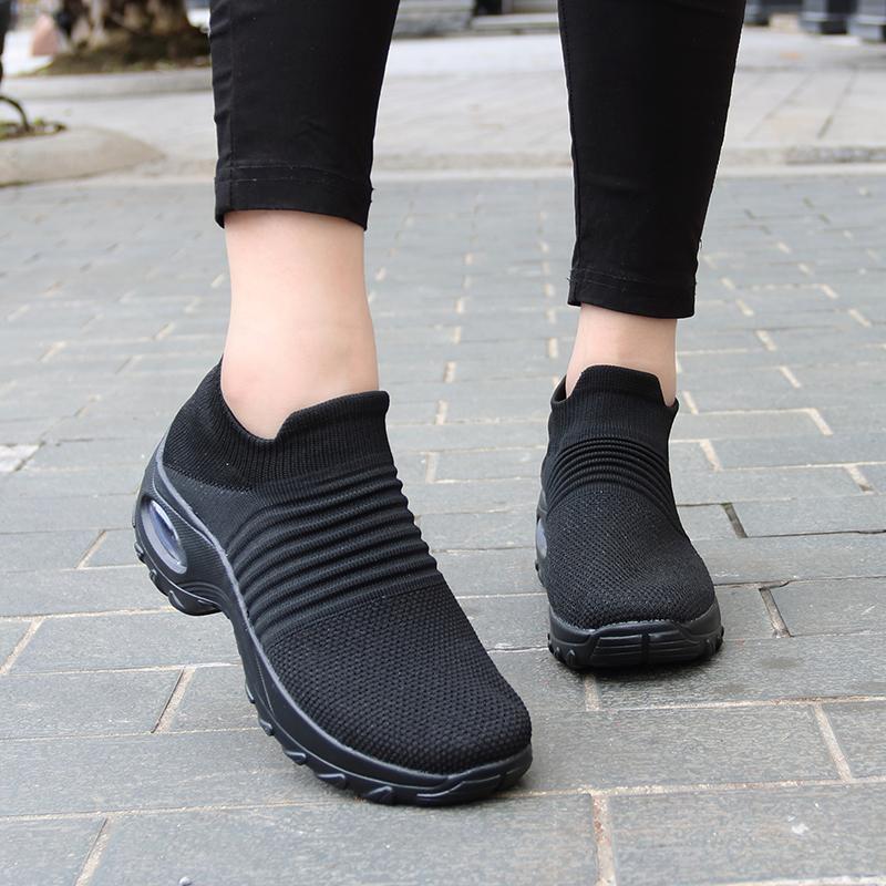Printemps Femmes Sneakers Chaussures Slip automne plat sur la plate-forme pour les femmes Tenis Mesh respirant Sock Sneakers Chaussures Zapatos De Mujer CJ191226