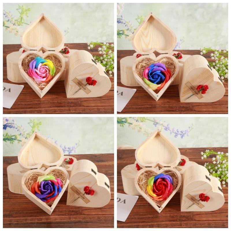 Sabonete Rose Love Box Flor de sabão coloridas de madeira caixas de flores do coração partido Atividade Dia dos Namorados Abastecimento presente 9ky H1