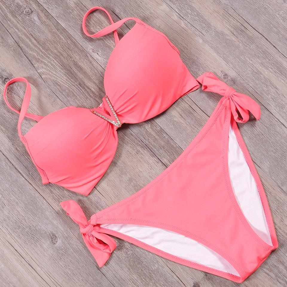TQSKK 2019 Nuevo atractivo empuja hacia arriba bajo la cintura Bikinis sólido mujeres traje de baño femenino de la playa del verano del desgaste del bikiní de la nadada del traje de baño Biquini MX200613