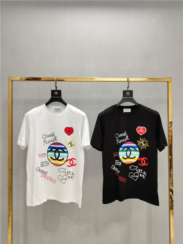2020ss primavera e verão novo algodão de alta qualidade impressão de Manga Curta T-Shirt Do Painel de pescoço redondo Tamanho: m-l-xl-xxl-xxxl Cor: Branco preto W737