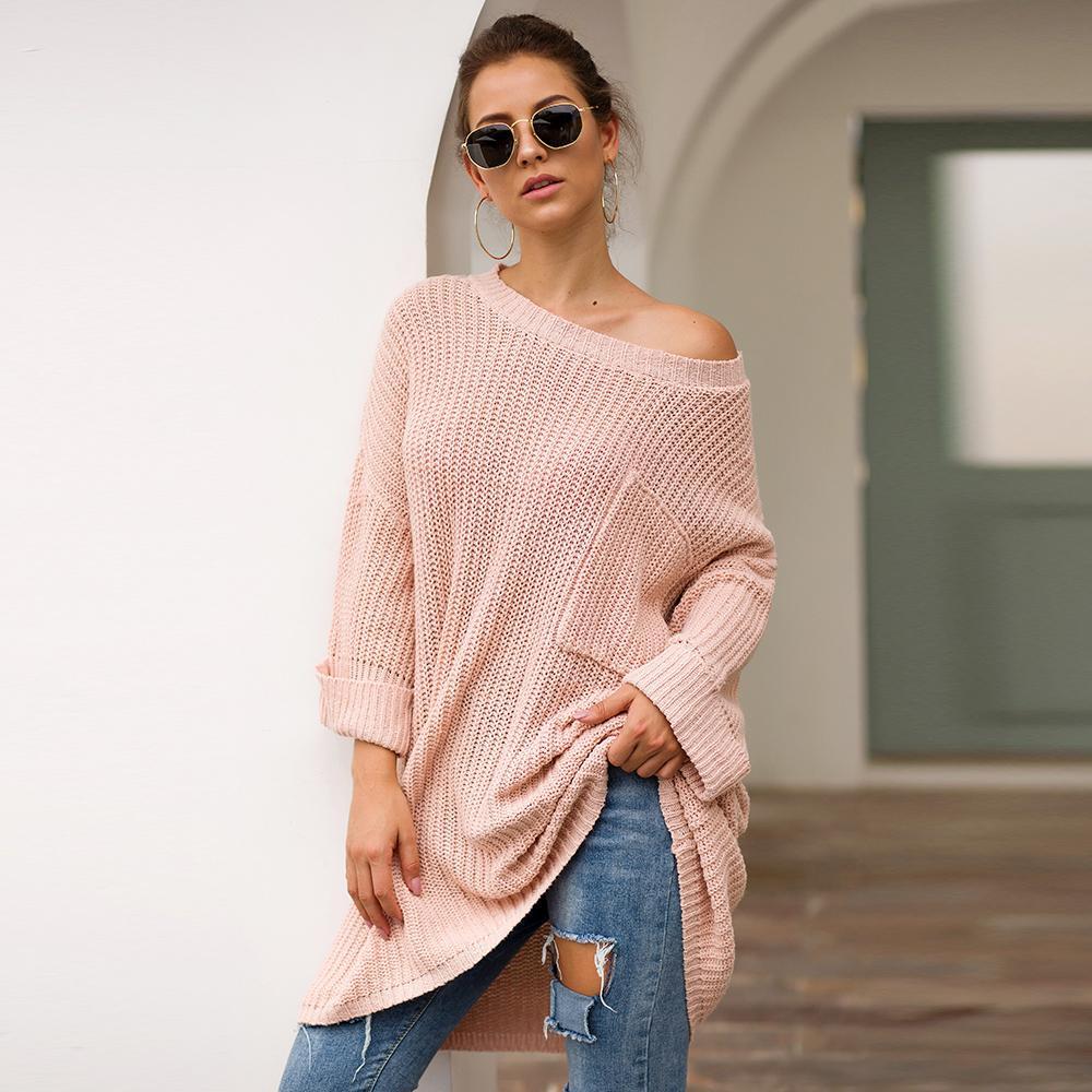 KALENMOS Осень Зима трикотажные свитера женщин вскользь Streetwear O шеи длинным рукавом Пуловеры Сыпучие Твердые Вершины