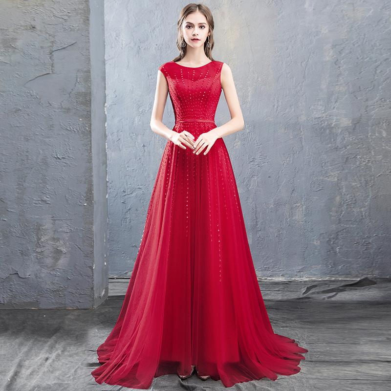 Perlage Tulle ligne robes de soirée 2020 En stock Prom robes longues robe de soirée rose fard à joues rouge gris