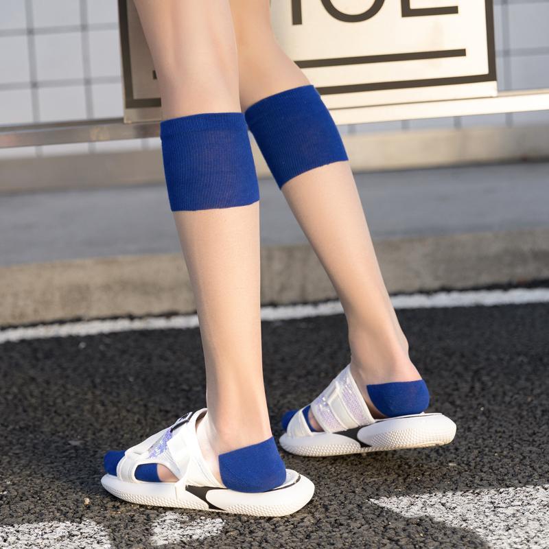 Transparent socks women's calf socks summer thin crystal socks ins tide stockings glass silk stockings mesh red