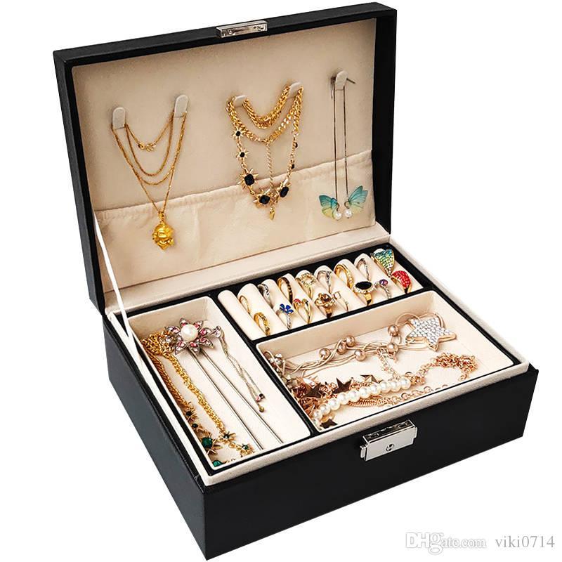 20191103 boîte de rangement bracelet collier grande capacité boîte simple de finition fermant à clé