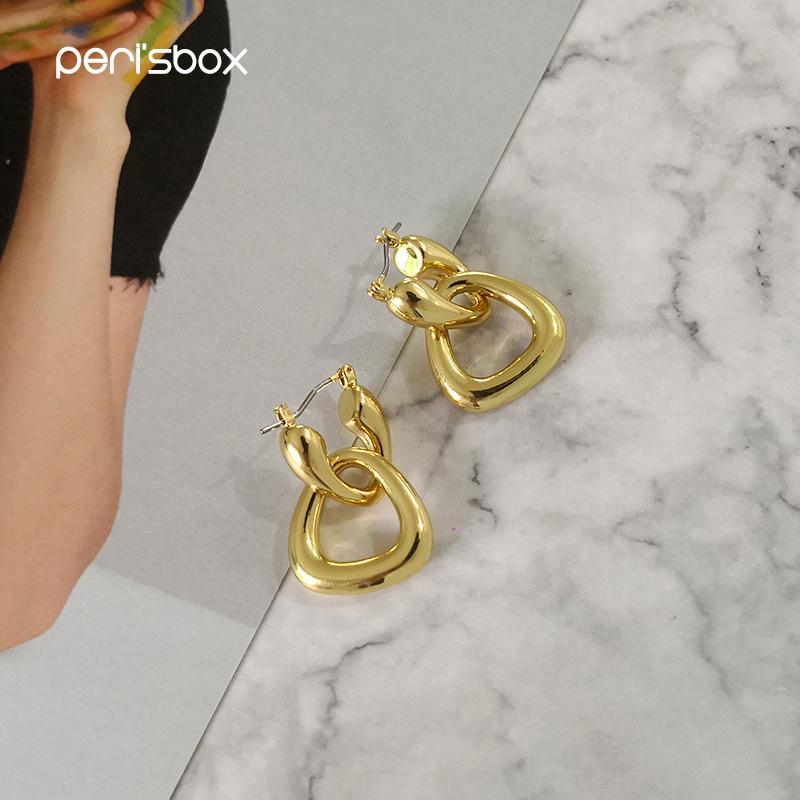 Peri'sBox Statement Gold Thick Triangle Hoop Earrings Female Brass Earrings Chunky Geometrical Earrings Kolczyki