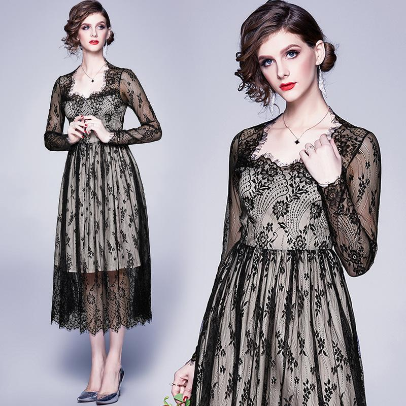 2020 spring fashion women'sSpring Long Sleeve Black Lace Dress Womens Dresses New Arrival 2019 Ladies Dresses Vestidos Casual Mujer Robe