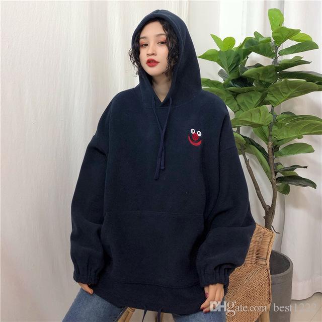 Sweats à capuche femmes poches brodé dessin animé tendance femme mignon en vrac BFplus Velvet à manches longues All-match belle Streetwear