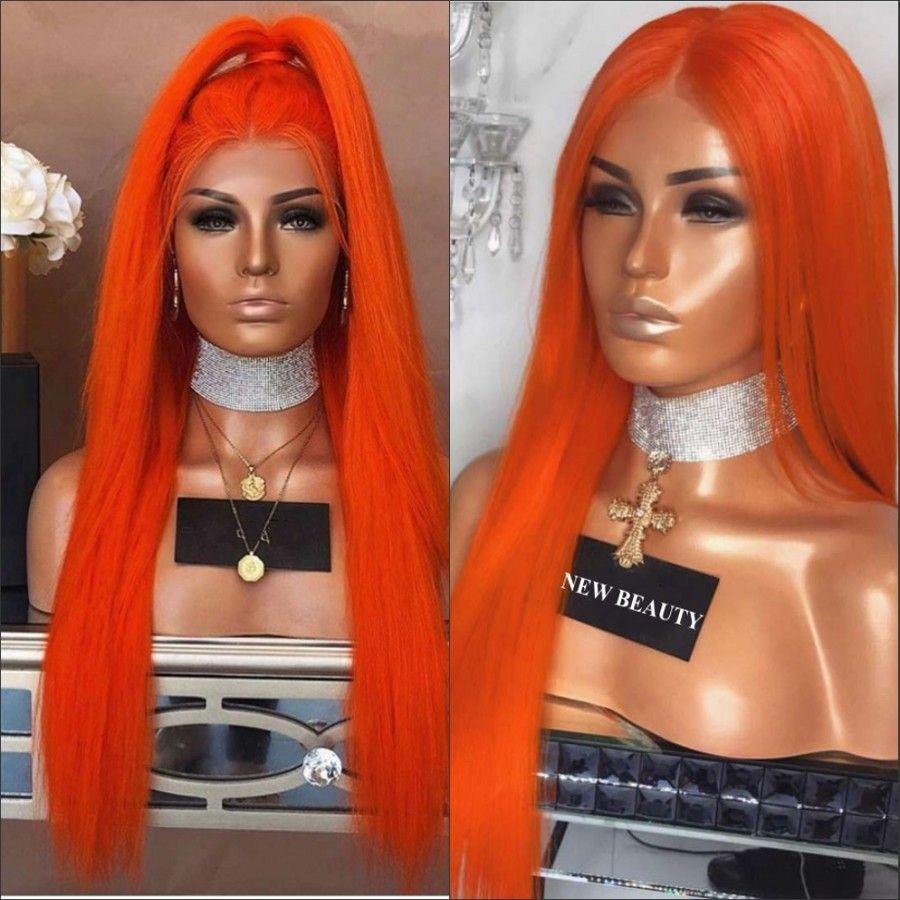 Orange lang gerade synthetischen Spitze-Front-Perücke orange Perücke für Schwarz / Afrikanische Frauen brasilianische Spitze-Perücke