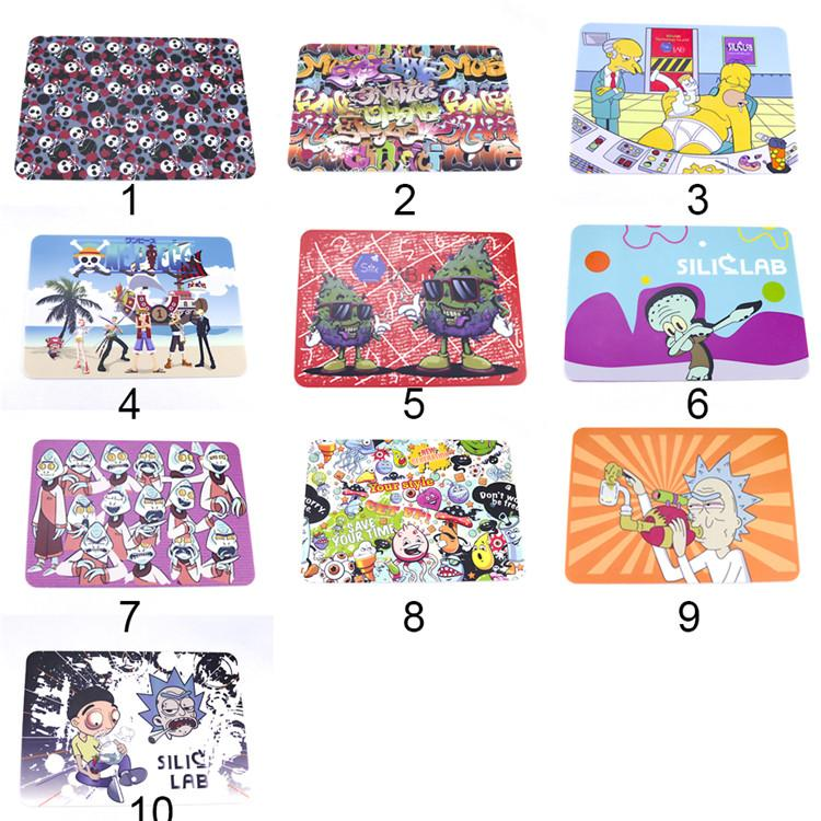 10 Styles Cartoon Silicone mat dab pad dry herb baking dabber square food grade 20.5*28cm sheets oil bho rubber pads slick wax mats