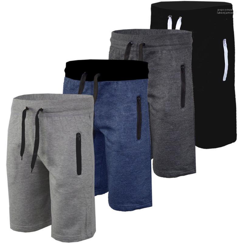 Cerniera GYM Mens Shorts Sport pantaloncini casuale solido di colore allentato il ginocchio mezzo bicchierino di lunghezza Athletic