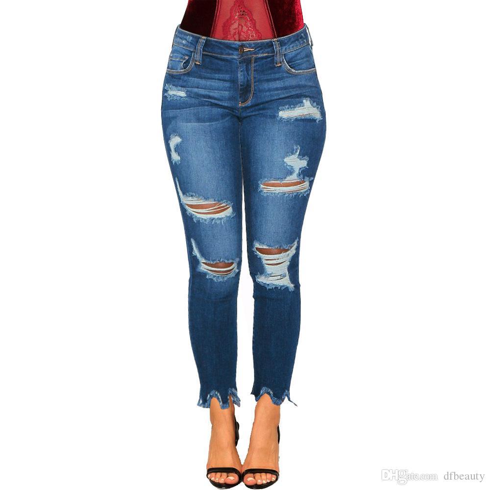 REAL FOTOS 2019 Jeans Skinny Ripped Hole Jeans Meados Cintura Calças Femininas Sexy Magro Calças Femininas Skinny Lápis Jeans Tamanho S-2XL Atacado