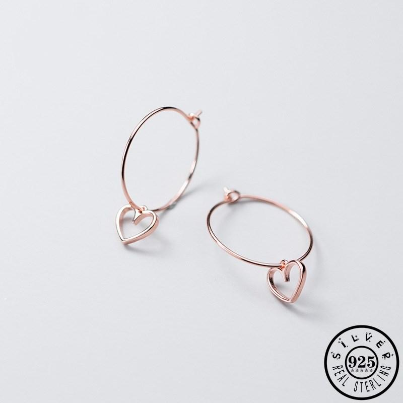 Moda argento 925 piccolo ciondolo a cuore in oro rosa placcato Colore rotondo del cerchio dell'orecchio Anelli gli orecchini dei cerchi per le donne Lady