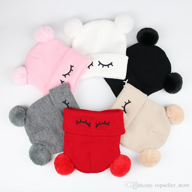 Toddler Girls Boys Winter Hats Baby Infant Winter Keep Warm Hat Double Fur Ball Crochet Knit Hat Children Kids Beanie Cap