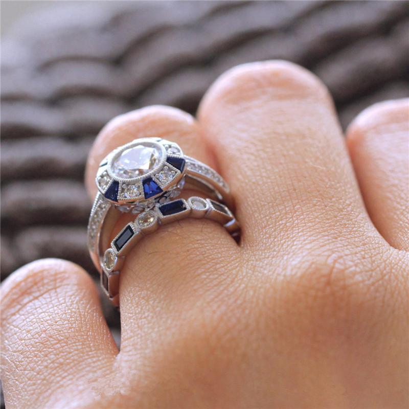 Mavi Topa Safir Pırlanta Seti Çift Kadınlar Erkekler NoEnName için Yüzük Nişan Anillos De Bague Etoile Bizuteria Diamante Halkalar