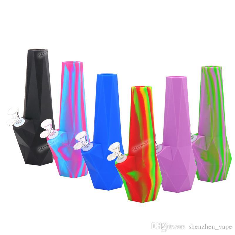 10''Hookah Силикон воды Трубные ромбовидные силикона конструкции Bongs FDA Курительные трубки Табак водопроводная труба Стекло Бонг DHL