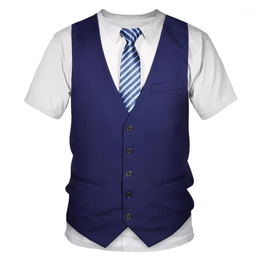 3D Imprimé T-shirts manches courtes d'été Hauts O Neck Homme T-shirts Casual Slim Couples T-shirts Gilet