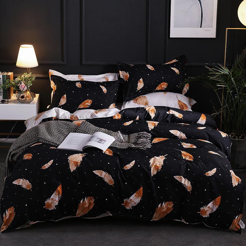 Blanco y negro pluma Impreso de cama Traje cubierta del edredón 3 fotos funda nórdica de alta calidad de ropa de cama ropa de cama conjuntos Suministros textiles para el hogar
