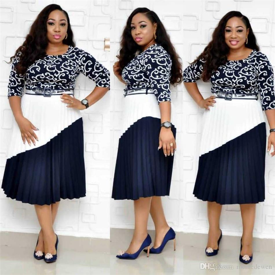 Kadınlar için afrika Elbiseler Zarif Robe Africaine Dashiki Baskı Elbise Artı Boyutu Kadın Bazin Riche Akşam Uzun Pileli Elbise NZ19.9-94