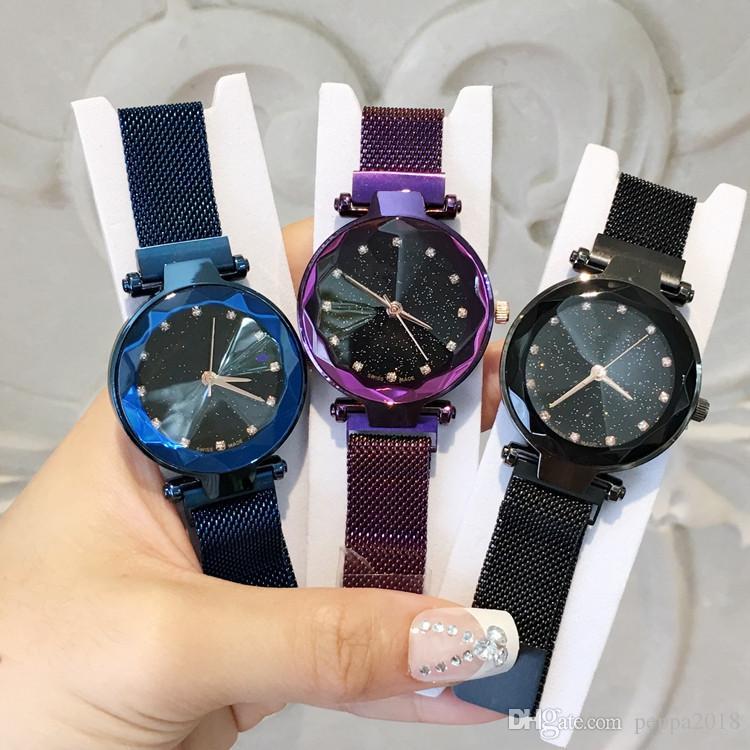 2019 Magnet buckle Purple Luxury Women Watch Fashion Steel Famous Design Relojes De Marca Mujer Lady Dress Watch With Starry sky Dial