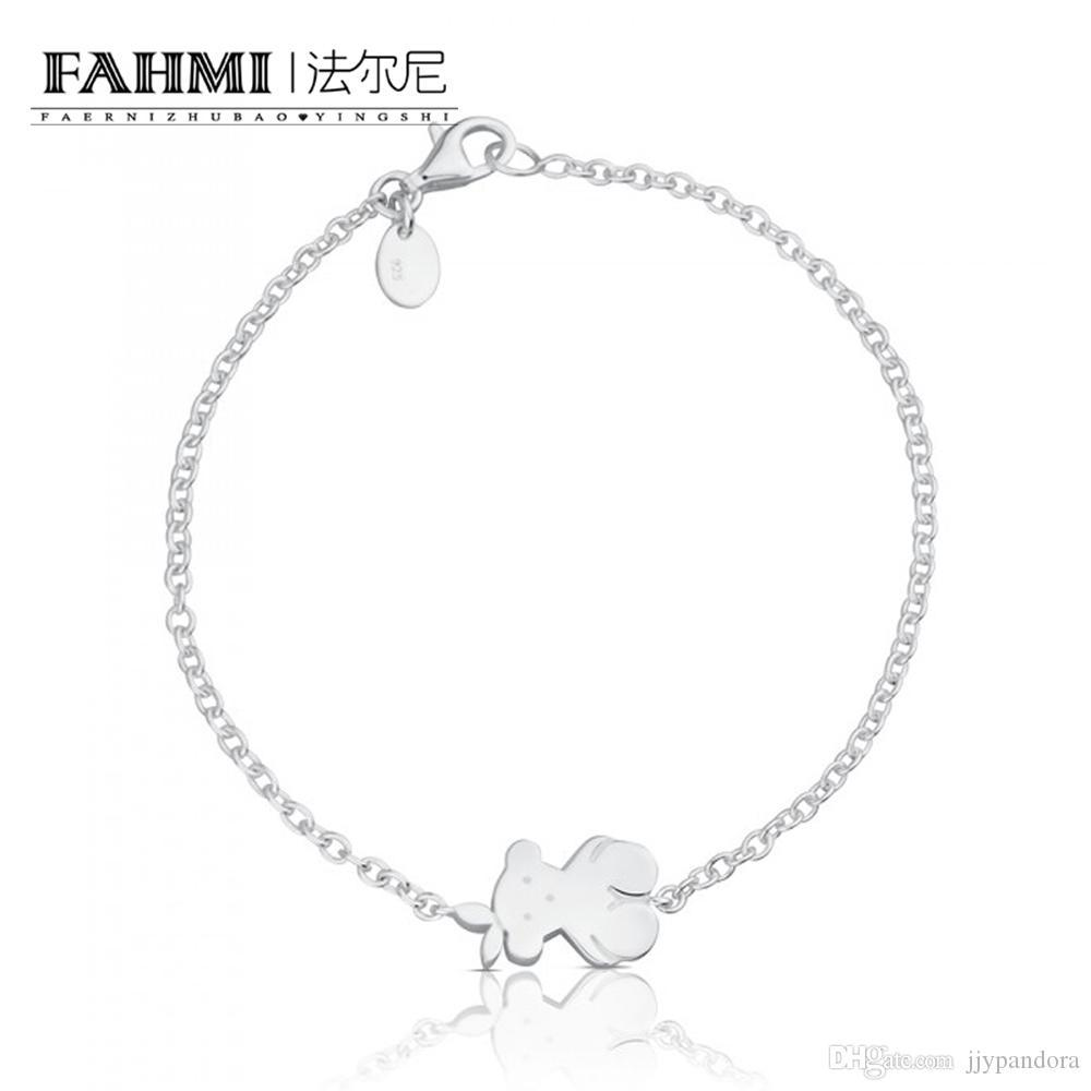 FAHMI 100% 925 Sterling Silver Charm Fashion Simple Cute Fun Bear Bracelet Women Original Wedding 615581500 Anniversary Gift