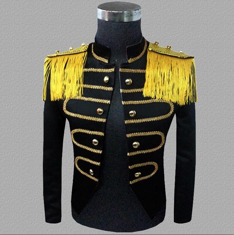 tassel blazer men suits designs jacket mens stage singers palace clothes dance star style dress punk rock stand collar black