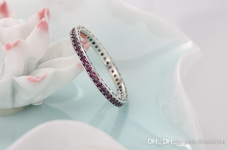 도매 럭셔리 보석 925 스털링 실버 단일 행 드릴링 루비 CZ 다이아몬드 보석 웨딩 여성 약혼 밴드 반지 선물 Size5-11